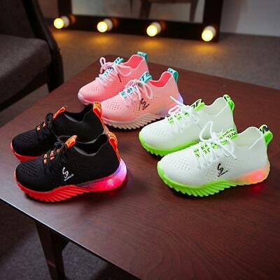 Children led light sneakers mesh breathable light shoes S letter 1909