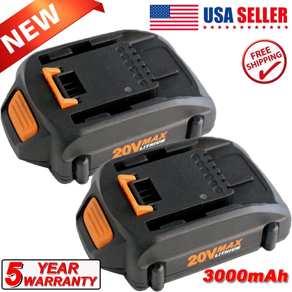 2 PACKS Battery For WORX WA3525 20V 3.0Ah Max Lithium Power