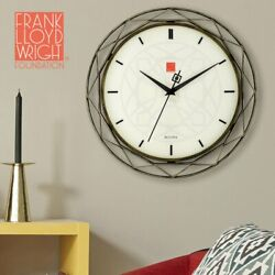Geometric Prism Shape Bronze Color Metal Rod Beige Face Dial Hanging Wall Clock
