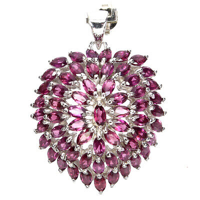 Unheated Marquise Rhodolite Garnet 5x2.5mm Natural 925 Sterling Silver Pendant