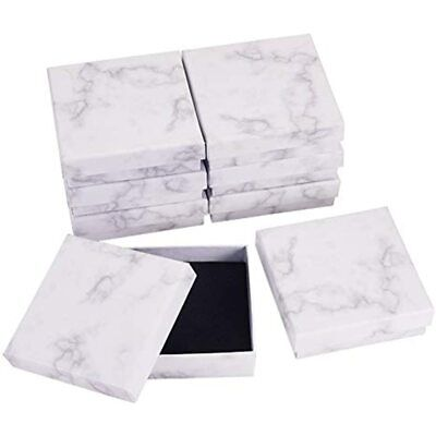Benecreat 8 Pack Kraft Square Cardboard Jewelry Boxes Marble White Necklace For