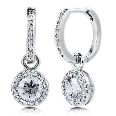 BERRICLE Sterling Silver Round Cut CZ Halo Dangle Drop Earrings