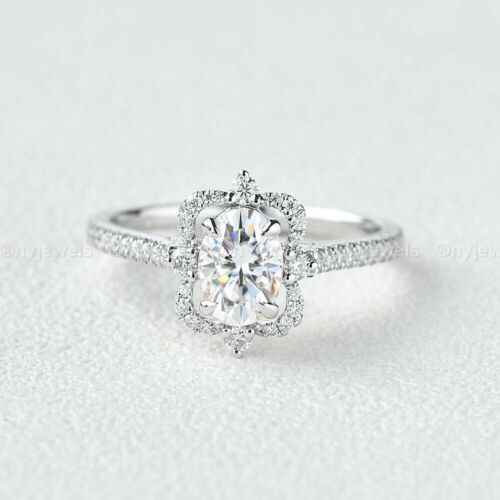 2 CT Moissanite Halo Wedding Engagement Ring Real 14K White Gold Oval Cut VVS1