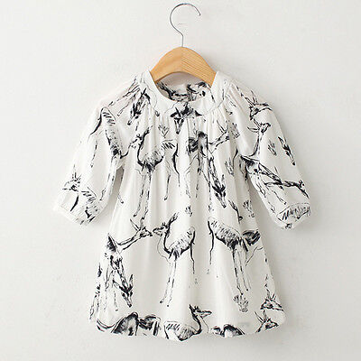 Toddler Kids Baby Girls Princess Deer Dress Casual Cotton Half Sleeve Dresses