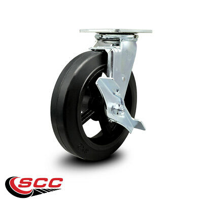Scc 8 Rubber On Cast Iron Wheel Swivel Caster Wbrake - 500 Lbscaster