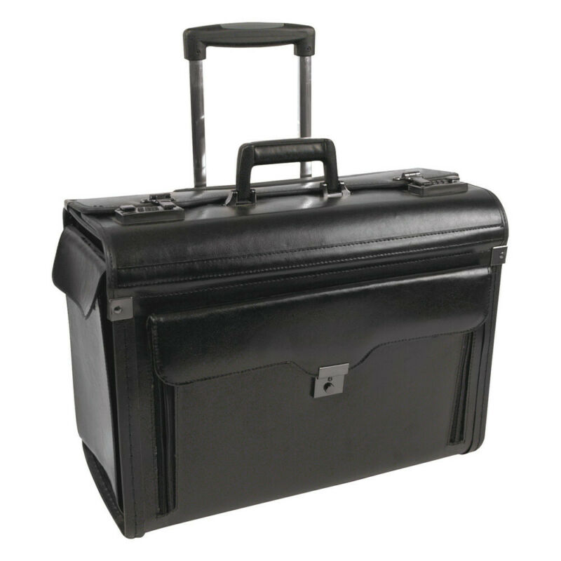 STEBCO 546110BLK Catalog Case on Wheels, Leather, 19 x 9 x 15-1/2 (Black) New