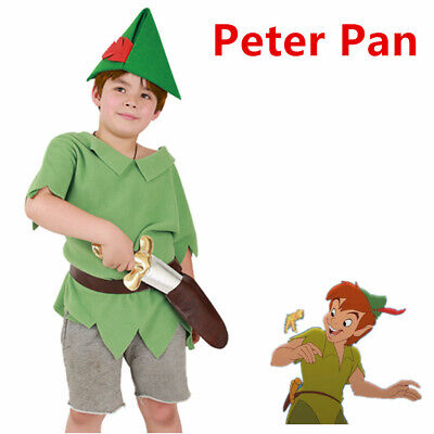 Boys Peter Pan Costume Child Fancy Dress Fairytale Book Hat Sword Outfit (Peter Pan Costumes For Boys)