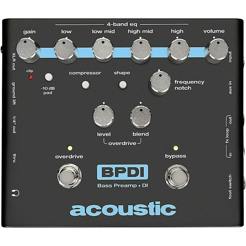 Acoustic Bass Preamp and DI Pedal with Overdrive  LN