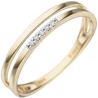 Diamantring Goldring Damen 585 Gold 14 Karat Gelbgold 5 Diamanten Brillanten