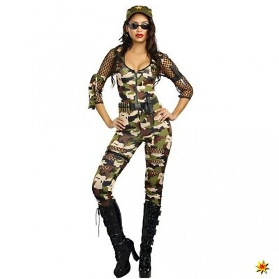 Kostüm Army Girl Cathy Gr. XS, S, M Overall Camouflage Armee Soldatin Kriegerin