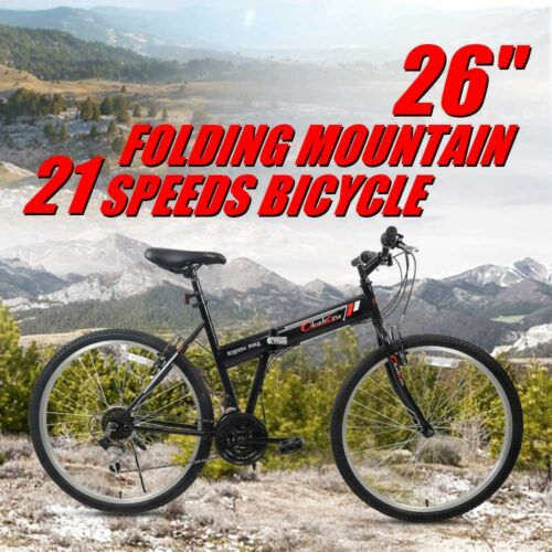 "26"" Folding Mountain Bike 21 Speeds Bicycle Shimano Gear Foldable Hybrid Sport"