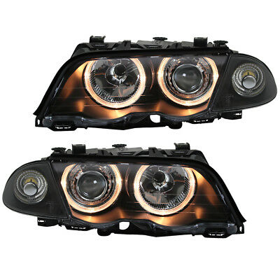 Angel Eyes Scheinwerfer Set BMW 3er E46 Coupe//Cabrio BJ 04//03-06 Schwarz RHD//LHD