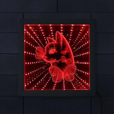 Cat With Butterfly Color Changing LED Infinity Mirror Frame Cat Lover Gift