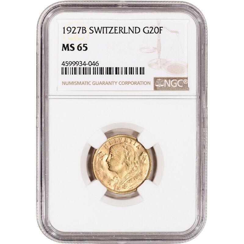 1927 B Switzerland Gold 20 Francs - NGC MS65