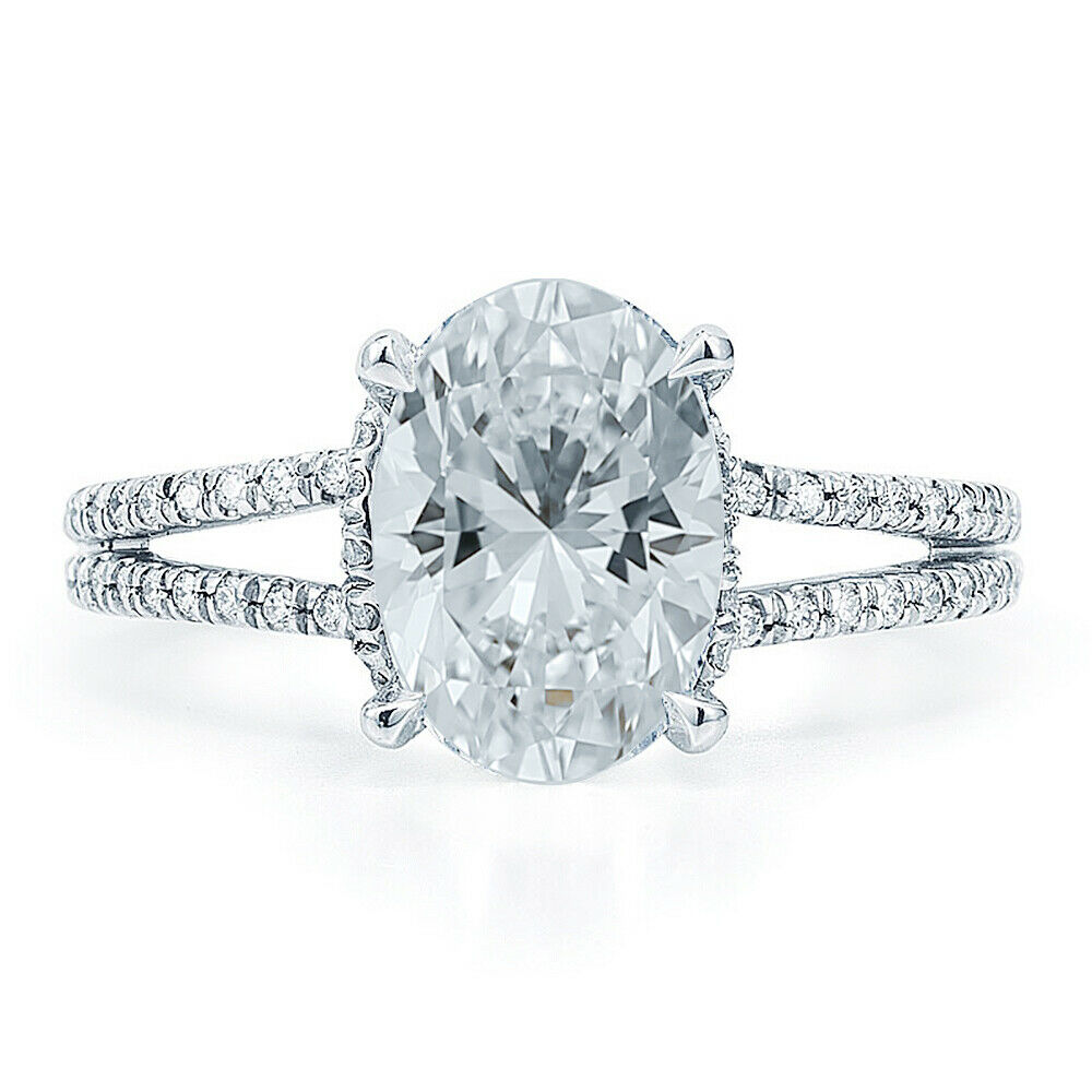 GIA Certified Diamond Engagement Ring  1.67 CTW Oval Cut 18k White Gold
