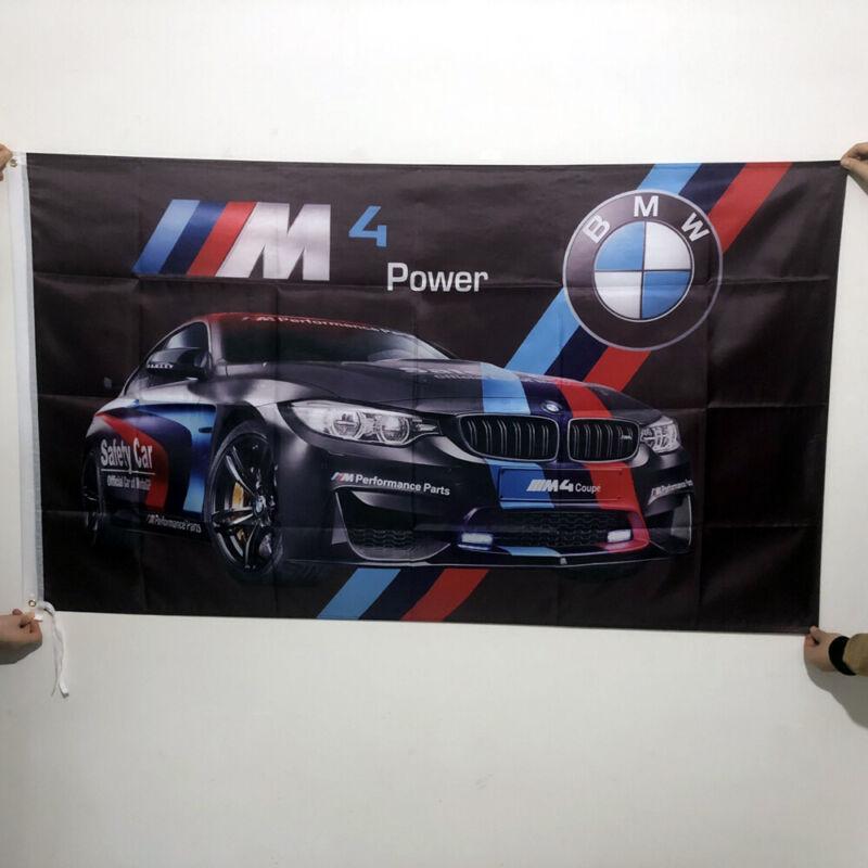 3X5FT BMW M4 Power I Coupe Alpina Motorsport Car Flag Banner Black 2Grommets#211