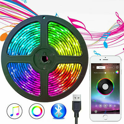 5V USB RGB LED Strip Lights Bluetooth Music Phone Control Dimmable Light Lamp US
