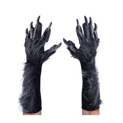 Halloween Werewolf Gloves (Deluxe Gray WereWolf Gloves Hands Claws Adult Halloween Costume)