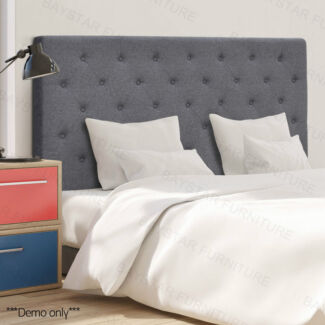 Premium Polyester Fabric Tufted Headboard for Queen Bed