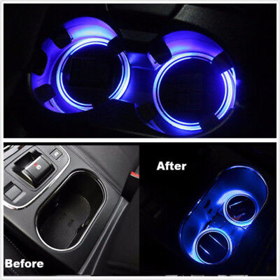 2 x Solar Cup Holder Bottom Pad LED Light Cover Trim Atmosphere Lamp For All Car