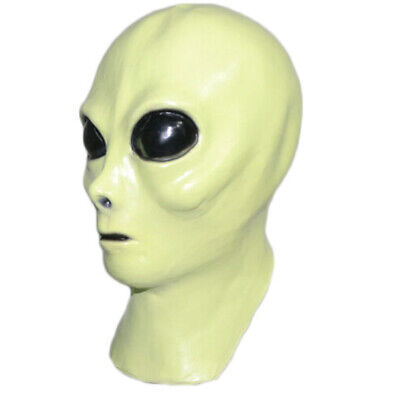 Et Mask Costume (Alien UFO Extra Terrestrial ET Latex Mask Adult Cosplay Costume Glow in the)