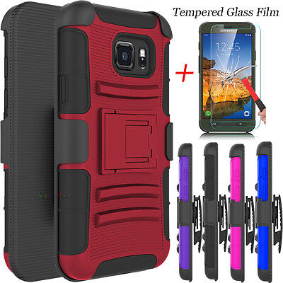 Hybrid Rubber Case Cover w/ Glass Screen Protector for Samsung Galaxy S7 Active ()