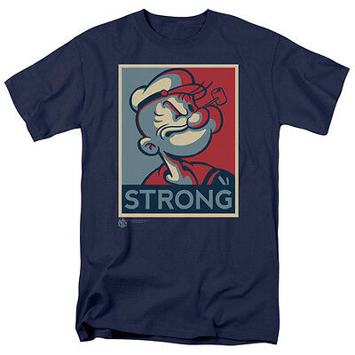 Popeye Strong  Navy  Color T Shirt Sizes S 3X New