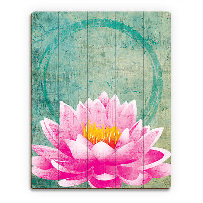 Lotus Grunge Ohm Planked Wood Wall Art Print 9x12 Floral Asian Flower NWT NEW! ()