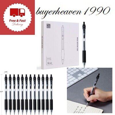 Gel Pen Retractable Black Ink Fine Point Rollerball Pens 0.7mm 12 Pack Easy Grip