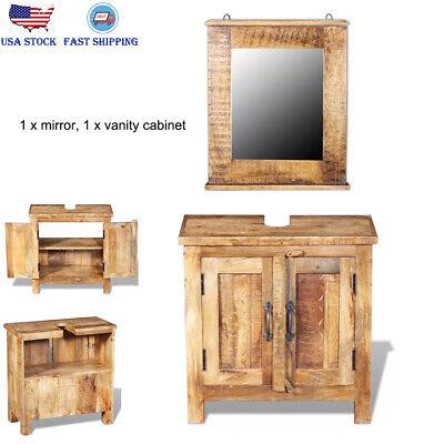 Wooden Bathroom Vanity Cabinet 2 Shelves Mirror Pre-cut Opening for Single (Antique Bathroom Vanity Single Sink)