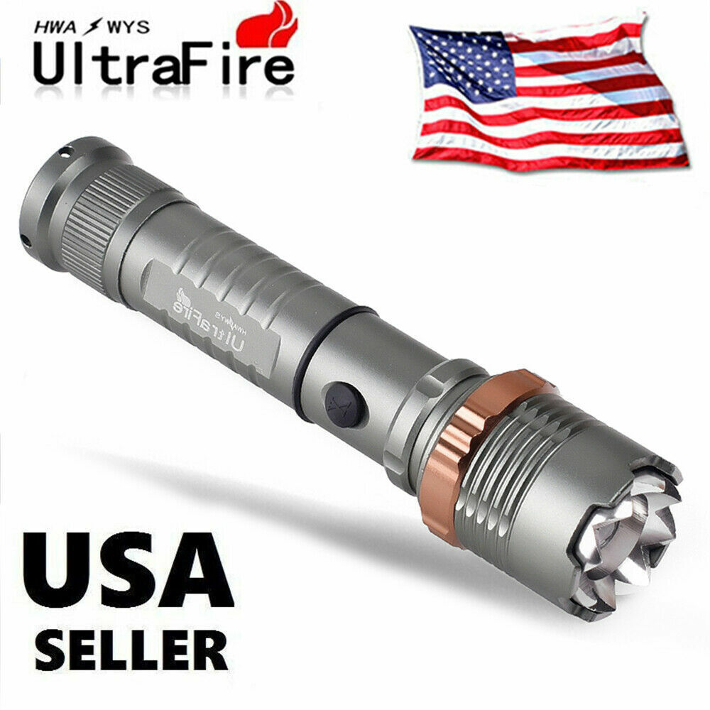Tactical Police T6 900000LM LED Zoomable Flashlight Torch Rechargeable Lamp USA Camping & Hiking