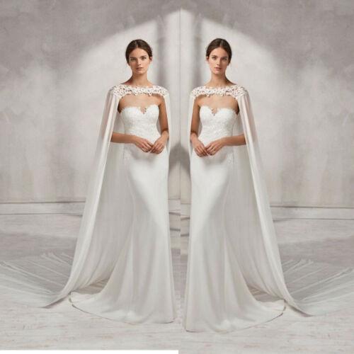 Wedding Bridal Long Cloak White Ivory Bridal Dress Cape Lace Edge Wraps Jacket