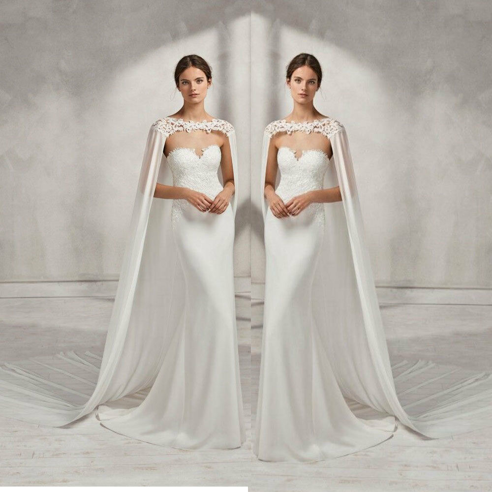 details about wedding bridal long cloak white ivory bridal dress cape lace  edge wraps jacket