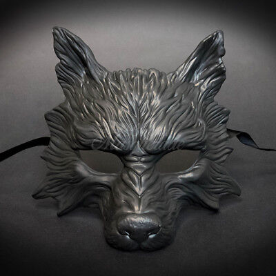 2017 All Black Humble, Hungry & Scary Wolf Mask Unisex Resin Masquerade Mask ](Hungry Wolf Mask)