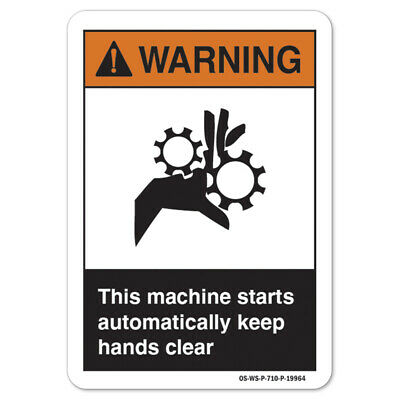 Ansi Warning Sign - This Machine Starts Made In The Usa
