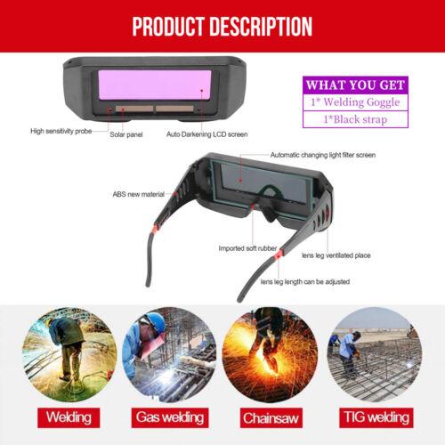 Solar Powered Auto-darkening Welding Helmet Eyes Goggle Glasses Welder w/ Strap