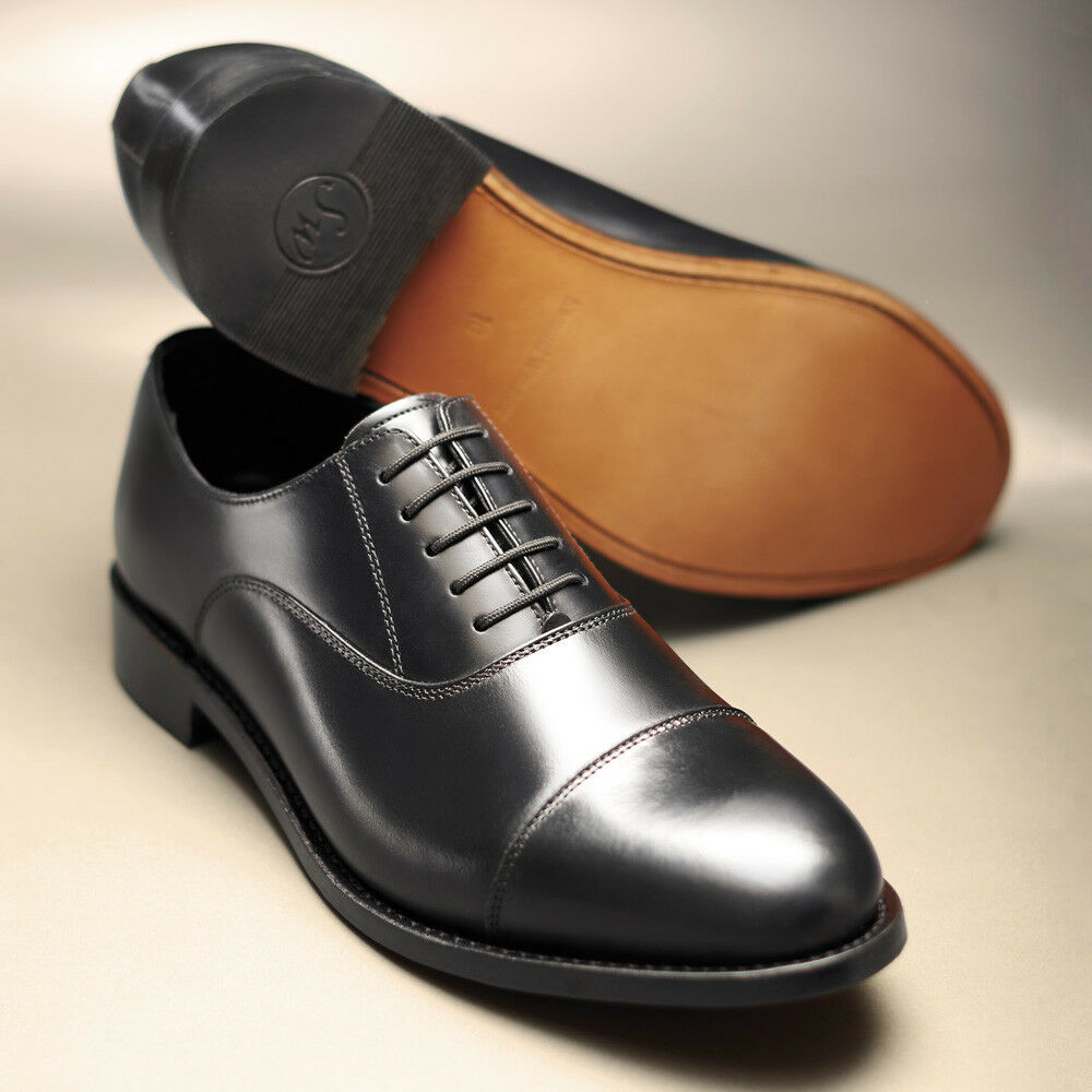 c26683f1c446 Details about Samuel Windsor Shoes Classic Handmade Mens Black Leather  Oxford Shoe Lace Up NEW