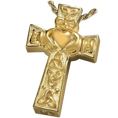 Celtic Heart Cross Ash Holder Cremation Urn Keepsake Pendant Necklace Gold Plate
