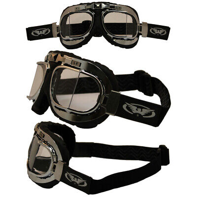 OLD SCHOOL BOMBER AVIATOR MOTORCYCLE GOGGLES WITH CLEAR LENS PADDED ANTI FOG (Old School Aviator Goggles)
