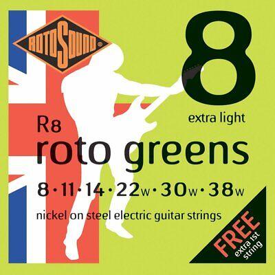 Set of Rotosound R8 Extra Light Electric Guitar Strings (08-38)