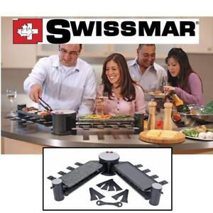 NEW SWISSMAR SWIVEL RACLETTE KF-77073 137509810 8 PERSON WITH CAST ALUMINUM AND GRANITE STONE GRILL TOP