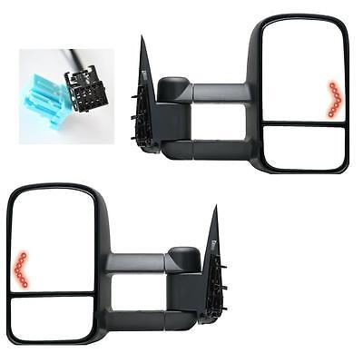 Power Heated LED Signals Pair Towing Mirrors 03-06 Silverado Sierra Tahoe Pickup
