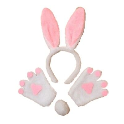 White Bunny Rabbit Ears Hair Band Tail and Mittens Set Fancy Dress Party Child