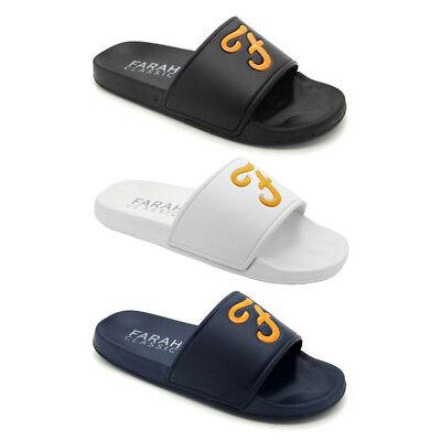 New Mens Sliders FARAH Classic Slip On / Flip-flops Wave White / Navy / Black