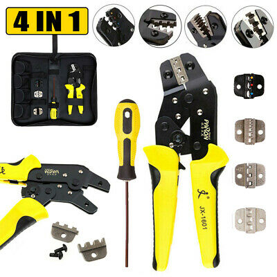 0.25-2.5mm 4in1 Crimper Clamp Tool Wire Ratchet Crimping Pliers Terminal Set