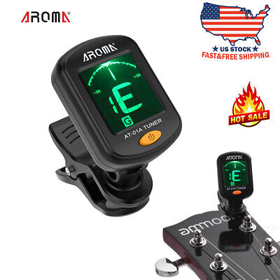 AROMA AT-01A Guitar Tuner Rotatable Clip-on Tuner LCD for Acoustic Guitar A4S1