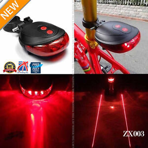 5 LED 2 Laser Bicycle Cycle Bike Red Beam Rear Lights Back Tail Lamp Light ZX003