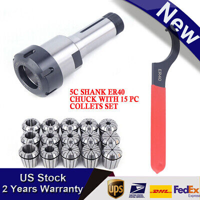 New 5c Shank Er40 Chuck With 15 Pc Collets Set Usa