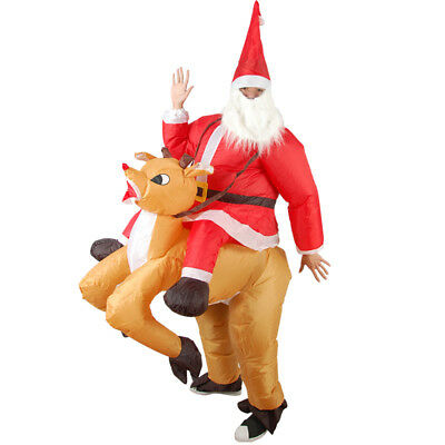 Christmas Santa Claus Ride On Milu Deer Inflatable Costume Fancy Dress Cosplay
