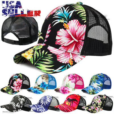 Hawaiian Trucker Hat Mesh Back Hawaii Cap Tropical Floral Snapback - Tropical Hat